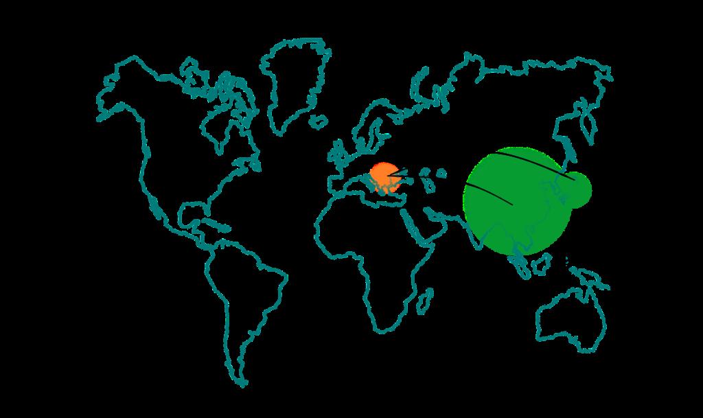 une carte du monde montrant la multiplication de tribulus terrestris