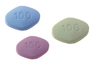 trois pilules d'une couleur différente en renfermant une substance active