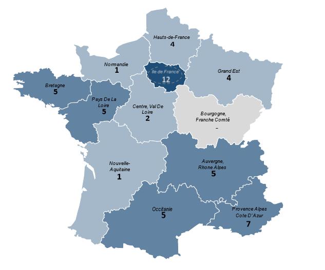 la carte de France qui indique des nombres des éjaculateurs précoce en pourcent